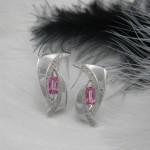 Rózsaszín köves fülbevaló